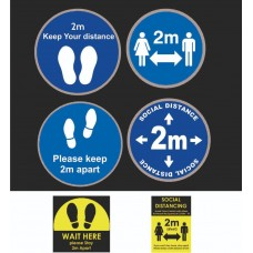 2m Social Distance Floor Stickers Signs Blue , Yellow Black colors A4 Size