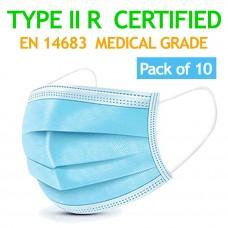 10 Pcs Medical Surgical CE Mark EN14683 Mouth Face Masks - 3-layer