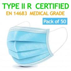 50 Pcs MEDICAL Surgical CE Mark EN14683 Mouth Face Masks - 3-layer