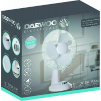 """DAEWOO 12"""" Inch Oscillating  Desk Top White Fan 3 Speed Cooling Home Office Quiet"""